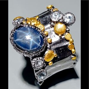 Genuine Blue Star Sapphire Ring
